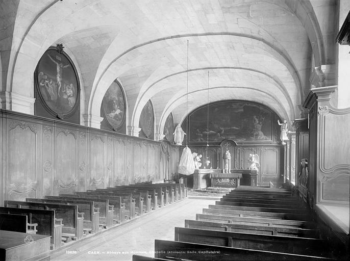 Abbaye aux Hommes (ancienne) Vue intérieure de la salle capitulaire, vers le chœur, Durand, Jean-Eugène (photographe),