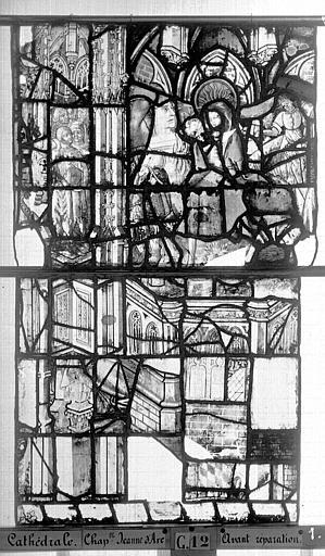 Cathédrale Vitrail, Chapelle Jeanne d'Arc, la Vierge et l'Enfant, saint jean, baie 36, treizième panneau, en haut, Heuzé, Henri (photographe),