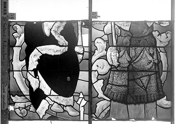 Eglise Saint-Godard Vitrail baie 18, Arbre de Jessé, premier panneau, en haut, Heuzé, Henri (photographe),