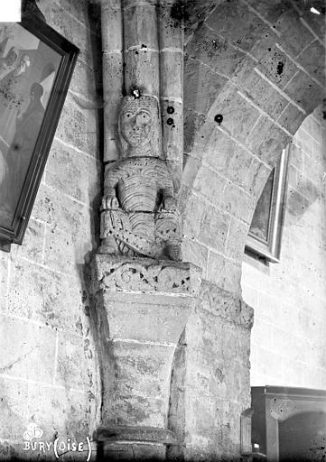 Eglise Saint-Lucien Chapiteaux et cariatide du 1er pilier du bas-côté nord (face ouest), Robert, Paul (photographe),