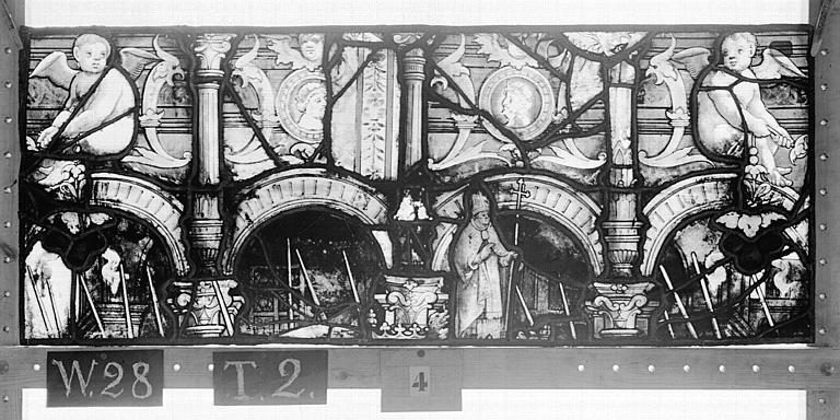 Cathédrale Vitrail, Chapelle Saint-Joseph, lancette médiane, Légende de saint Romain, huitième panneau, en haut, Heuzé, Henri (photographe),