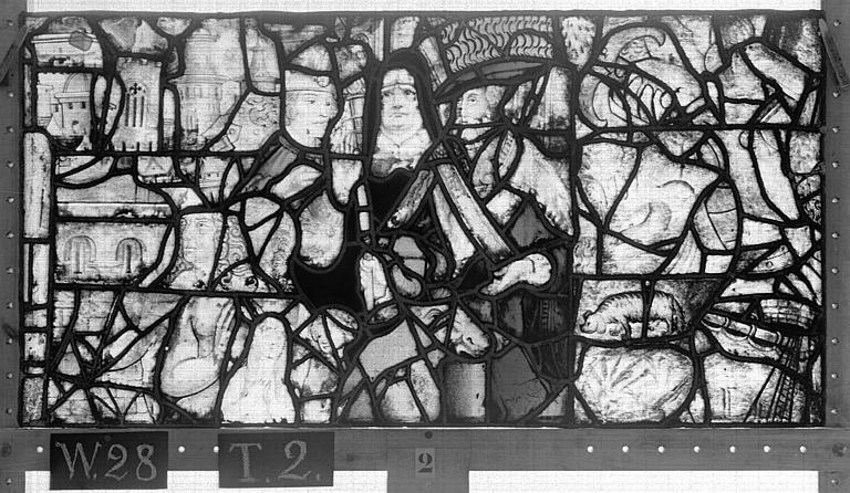 Cathédrale Vitrail, Chapelle Saint-Joseph, lancette médiane, Légende de saint Romain, dixième panneau, en haut, Heuzé, Henri (photographe),