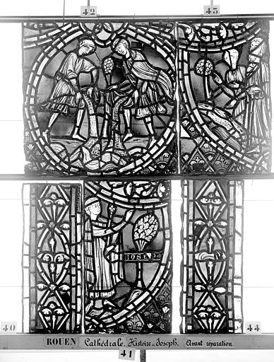 Cathédrale Vitrail, déambulatoire, baie 57, Histoire de Joseph, sixième panneau en haut, Heuzé, Henri (photographe),