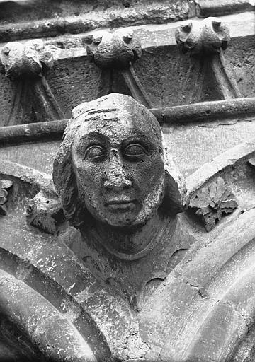 Cathédrale Notre-Dame Tête d'amortissement, arc, tour sud, Lajoie, Abel,