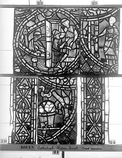 Cathédrale Vitrail, déambulatoire, baie 57, Histoire de Joseph, onzième panneau en haut, Heuzé, Henri (photographe),