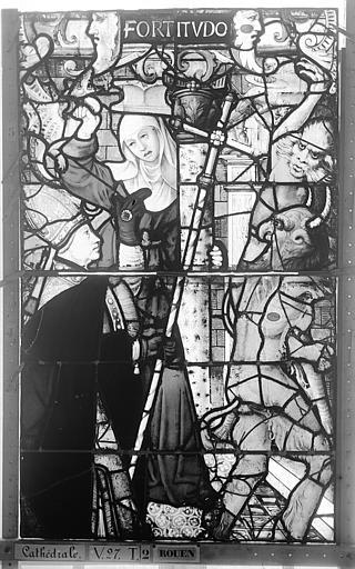 Cathédrale Vitrail, Chapelle Saint-Joseph, Vie de saint Romain, lancette médiane, quatrième panneau, en haut, Heuzé, Henri (photographe),