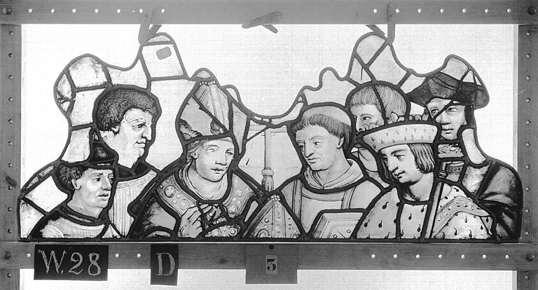 Cathédrale Vitrail, Chapelle Saint-Joseph, tympan gauche, Légende de saint Romain, premier panneau, en haut, Heuzé, Henri (photographe),
