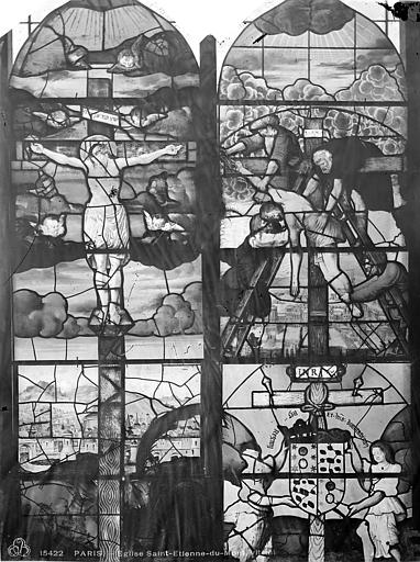 Eglise Saint-Etienne-du-Mont Vitrail de la haute nef : Crucifixion. Descente de croix, Leprévost (photographe),