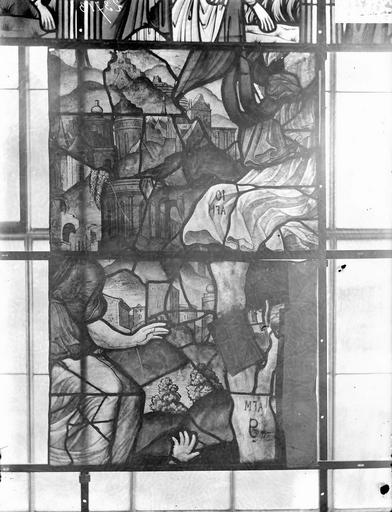 Eglise Vitraux, panneaux 5 et 12 de la baie G, Nadeau, H. (photographe),