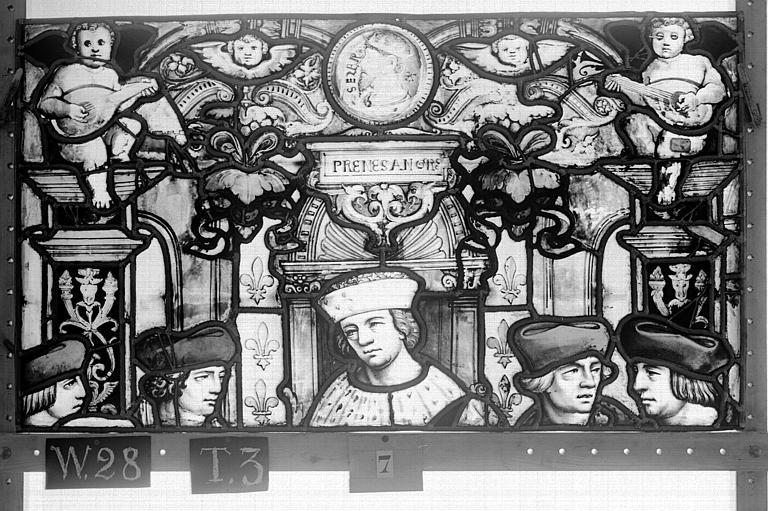 Cathédrale Vitrail, Chapelle Saint-Joseph, lancette de droite, Légende de saint Romain, cinquième panneau, en haut, Heuzé, Henri (photographe),