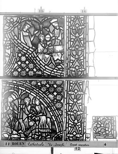 Cathédrale Vitrail, baie 59, Vie de Joseph, douzième panneau, en haut, Heuzé, Henri (photographe),