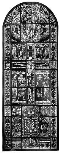 Cathédrale Saint-Pierre Vitrail, baie B : crucifixion, Leprévost (photographe),