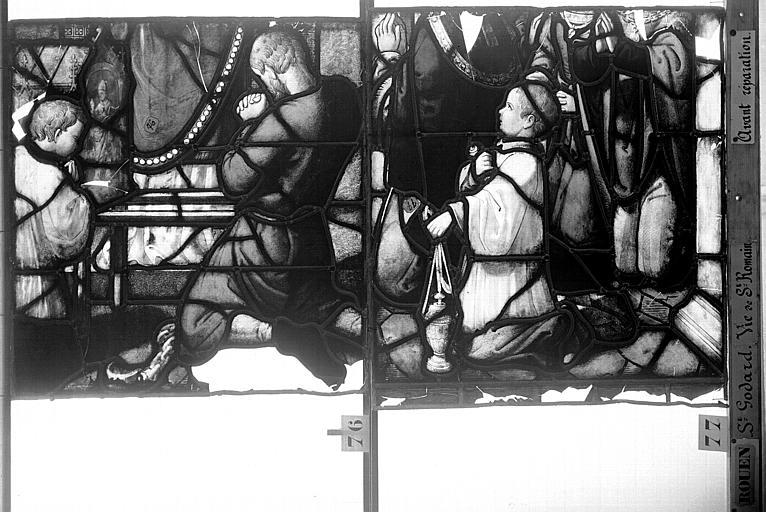 Eglise Saint-Godard Vitrail, baie 17, Vie de saint Romain, vingtième panneau, en haut, Heuzé, Henri (photographe),