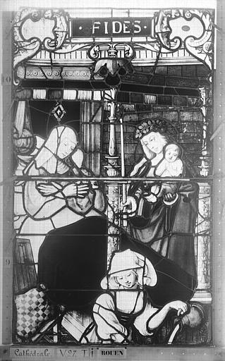 Cathédrale Vitrail, Chapelle Saint-Joseph, Vie de saint Romain, lancette de gauche, deuxième panneau, en haut, Heuzé, Henri (photographe),