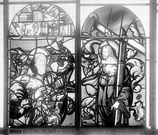 Eglise Saint-Eloi (ancienne) Vitrail, fenêtre 2, partie supérieure de la lancette droite et de la médiane, Heuzé, Henri (photographe),