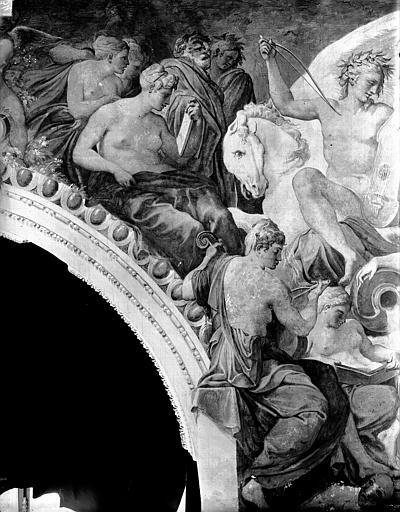 Domaine national, château Peintures murales de la galerie Henri II, partie gauche du Parnasse, Service photographique,