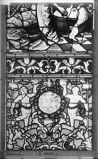 Cathédrale Vitrail, Chapelle Saint-Joseph, Vie de saint Romain, lancette de gauche, troisième panneau, en haut, Heuzé, Henri (photographe),