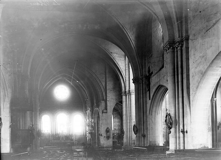 Eglise Saint-Génitour Nef vue de l'entrée, Enlart, Camille (historien),