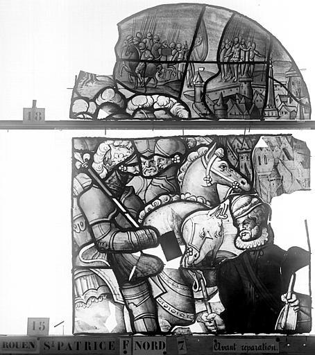 Eglise Saint-Patrice Vitrail, Vie de saint Louis, lancette de droite, premier panneau, Heuzé, Henri (photographe),