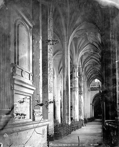 Eglise Saint-Gervais-Saint-Protais Vue intérieure du bas-côté sud, vers l'ouest, Mieusement, Médéric (photographe),