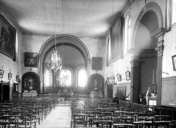 Eglise Saint-Laurent Vue intérieure de la nef vers le choeur, Mieusement, Médéric (photographe),