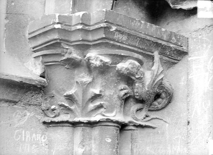 Cathédrale Saint-Etienne Portail central de la façade ouest : chapiteau, Doucet ; Baudet (photographe),