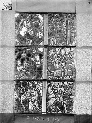 Cathédrale Saint-Etienne (ancienne) Vitrail de la chapelle absidiale, fenêtre G, les six panneaux inférieurs, Romanais (photographe),
