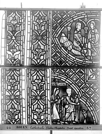 Cathédrale Vitrail, déambulatoire au nord, saint Julien l'Hospitalier, quatrième panneau, en haut, Heuzé, Henri (photographe),