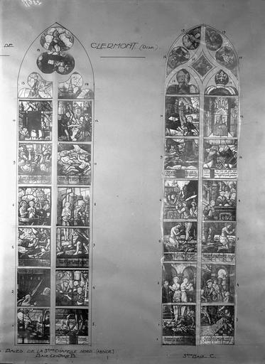 Eglise Vitraux, troisième chapelle nord, baies B et C, Service photographique,