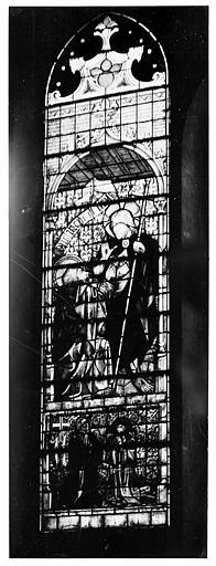 Eglise Notre-Dame Vitrail de la chapelle de l'Assomption : Donateur et son saint patron, Gossin (photographe),