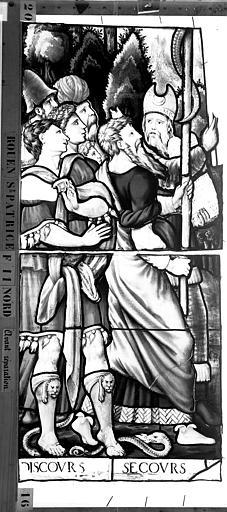 Eglise Saint-Patrice Vitrail, Triomphe de la loi de Grau, quatrième lancette à gauche, premier panneau, Heuzé, Henri (photographe),