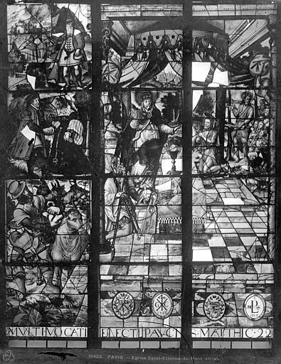 Eglise Saint-Etienne-du-Mont Vitrail du bas-côté sud : Beaucoup sont appelés peu sont élus, Leprévost (photographe),