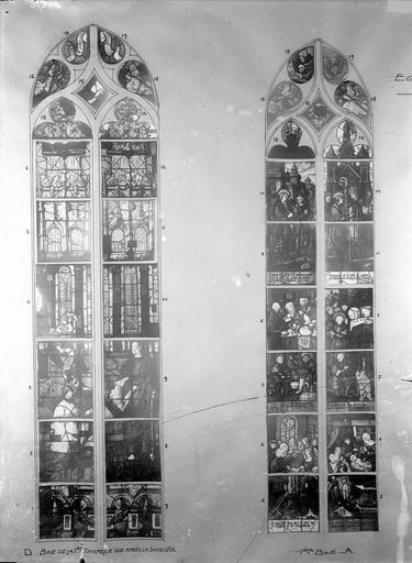Eglise Vitraux, baie II de la chapelle sud après la sacristie et  baie A de la troisième chapelle nord, Service photographique,