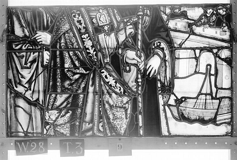 Cathédrale Vitrail, Chapelle Saint-Joseph, lancette de droite, Légende de saint Romain, troisième panneau, en haut, Heuzé, Henri (photographe),