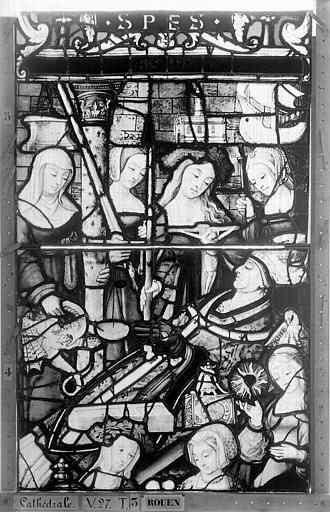Cathédrale Vitrail, Chapelle Saint-Joseph, Vie de saint Romain, lancette de droite, quatrième panneau, en haut, Heuzé, Henri (photographe),
