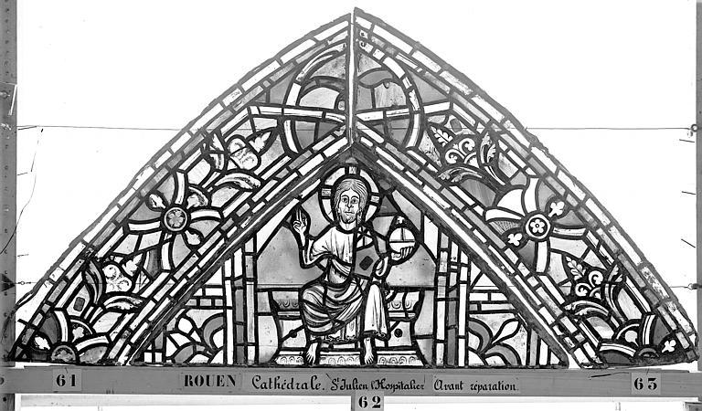 Cathédrale Vitrail, déambulatoire au nord, saint Julien l'Hospitalier, premier panneau, en haut, Heuzé, Henri (photographe),