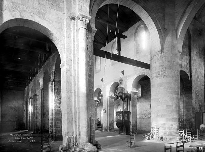 Eglise Vue intérieure du bas-côté sud et de la nef, prise du transept, Durand, Jean-Eugène (photographe),