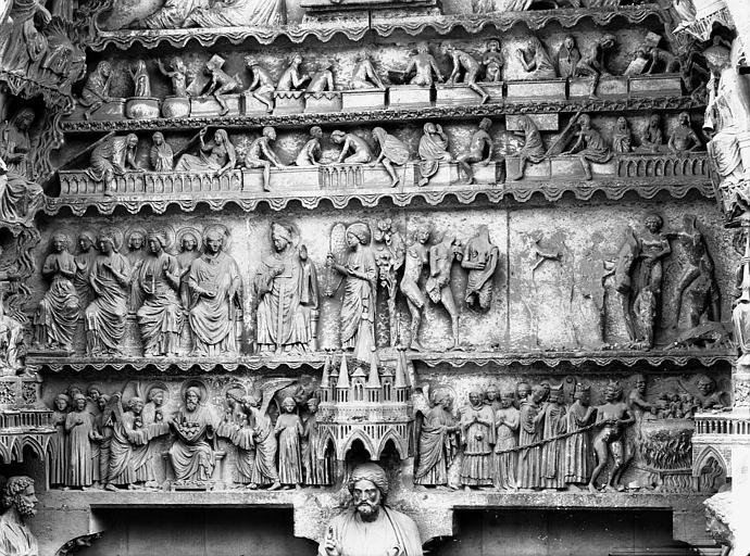 Cathédrale Notre-Dame Portail nord, portail de la Résurrection, tympan, registres inférieurs, Lajoie, Abel,