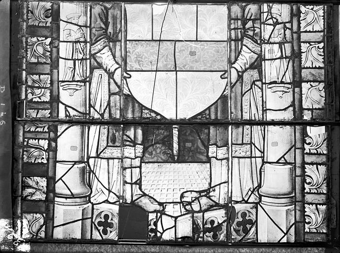 Cathédrale Saint-Etienne (ancienne) Vitrail du transept nord, fenêtre D, panneau inférieur, Romanais (photographe),