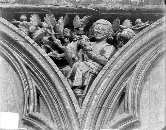 Cathédrale Saint-Pierre Stalles, écoinçon : figure symbolique des Péchés capitaux, Heuzé, Henri (photographe),