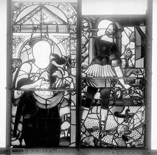 Eglise Saint-Eloi (ancienne) Vitrail, fenêtre 1, panneaux, Heuzé, Henri (photographe),