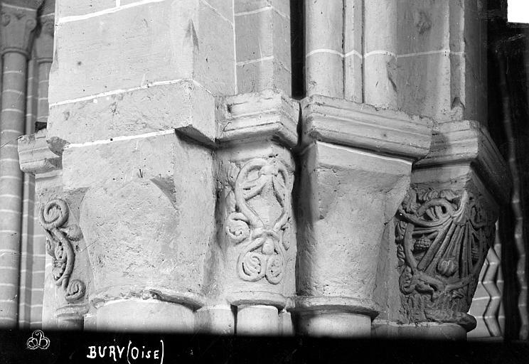 Eglise Saint-Lucien Chapiteaux du 3ème pilier de la nef et du bas-côté sud (face ouest), Robert, Paul (photographe),