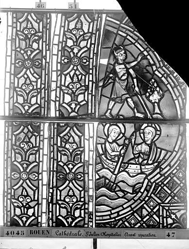 Cathédrale Vitrail, déambulatoire au nord, saint Julien l'Hospitalier, deuxième panneau, en haut, Heuzé, Henri (photographe),