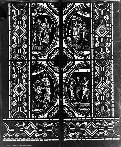 Cathédrale Saint-Pierre Vitrail, fenêtre C, médaillon, Leprévost (photographe),