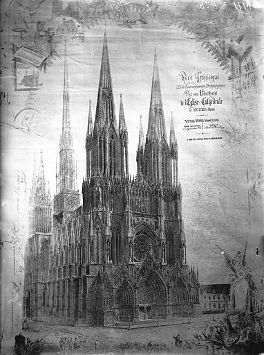 Reproduction d'un dessin de P.Dubois, la cathédrale avec ses flèches, Lajoie, Abel,