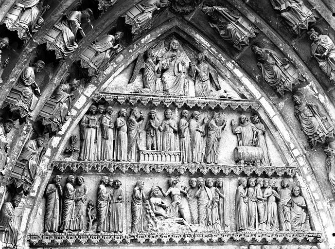 Cathédrale Notre-Dame Portail nord, portail de saint Sixte, tympan, parties hautes, Lajoie, Abel,