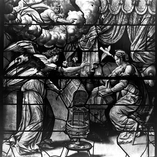 Eglise Saint-Gervais-Saint-Protais Vitrail, Annonciation, Leprévost (photographe),