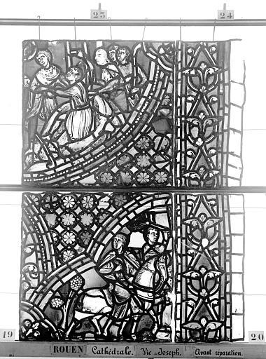 Cathédrale Vitrail, baie 59, Vie de Joseph, dixième panneau, en haut, Heuzé, Henri (photographe),