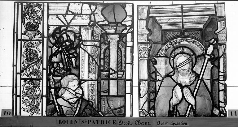 Eglise Saint-Patrice Vitrail, fenêtre droite du choeur, douzième panneau, Heuzé, Henri (photographe),
