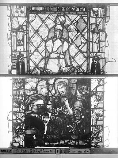 Cathédrale Vitrail, Chapelle Jeanne d'Arc, Baptême de saint jean, baie 38, cinquième panneau, en haut, Heuzé, Henri (photographe),